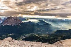 Sikt från Maria Vittoria Torrani - Dolomites, Italien Royaltyfri Bild