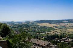 Sikt från Montepulciano - Italien Arkivfoto