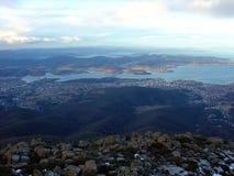Sikt från monteringsgummistöveln, Tasmanien, Australien Arkivbild