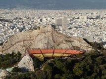 Sikt från Mountet Lycabettus över Aten, Grekland Arkivbilder