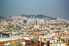 Sikt från nationell slott av Montjuic, Barcelona Fotografering för Bildbyråer