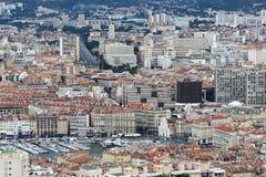 Sikt från Notre Dame de la Garde på gamla Marseille, Frankrike Royaltyfri Fotografi