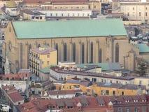 Sikt från ovannämnt - den hela staden italy naples Arkivbild