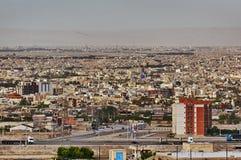 Sikt från ovannämnt på ett stads- landskap, Kashan, Iran royaltyfri fotografi