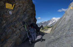 Sikt från passerandesänkan de Malatra till Mont Blanc Fotografering för Bildbyråer