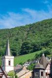Sikt från Rhinet River på skogen Niederwald, den flyg- elevatorn vid Assmanshausen, vingårdarna och taken av staden arkivfoto