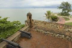 Sikt från San Felipe Fort till sjösidan i Puerto Plata, Dominikanska republiken Fotografering för Bildbyråer