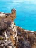 Sikt från Santa Barbara Castle, Alicante royaltyfria bilder