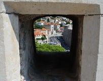 Sikt från stadsväggarna croatia dubrovnik gammal town Balkans Adriatiskt hav, Europa Royaltyfria Bilder