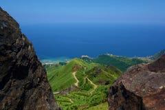 Sikt från tekannaberget i det Ruifang området, nya Taipei, Taiwan fotografering för bildbyråer