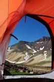 Sikt från tenten Arkivbild