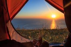 Sikt från tenten Royaltyfri Bild