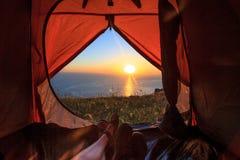 Sikt från tenten Royaltyfria Bilder