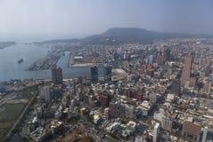 Sikt från torn för 85 himmel i Koashiung, Arkivfoton