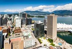 Sikt från torn för mitt för Vancouver utkikhamn Arkivbilder
