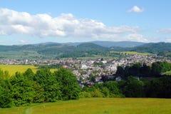 Sikt från utkiktornet på kullen Brusna in mot Bludoven Arkivfoton