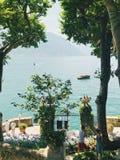 Sikt från Villa del Balbianello, sjö Como Arkivbild