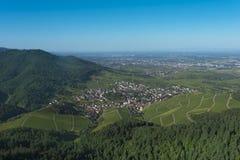 Sikt från Yburgen till Rhenvalley_en Baden Baden, Tyskland Royaltyfri Fotografi