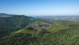 Sikt från Yburgen till Rhenvalley_en Baden Baden, Tyskland Fotografering för Bildbyråer