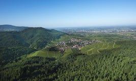 Sikt från Yburgen till Rhenvalley_en Baden Baden, Tyskland Royaltyfria Bilder