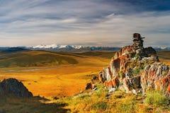 sikt för bergplatåukok Arkivfoto
