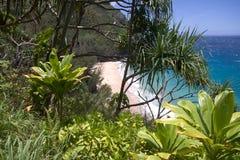 Sikt för Hanakapiai strandtittut Fotografering för Bildbyråer