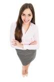 Sikt för hög vinkel av den unga affärskvinnan Arkivfoto