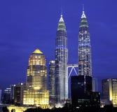 Sikt för KL-horisontnatt, Kuala Lumpur, Malaysia Arkivfoto