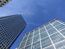 Sikt för London hamnkvartersolnedgång Arkivbilder