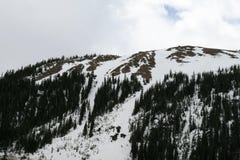 Sikt fr?n sp?ret p? de sn?ig maxima av Rocky Mountain i Denver, USA fotografering för bildbyråer