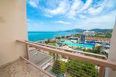 Sikt från balkong i lägenhethus Royaltyfria Bilder