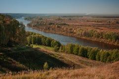 Sikt från det skalliga berget Gorokhovets Den Vladimir regionen Slutet av September 2015 Royaltyfria Bilder