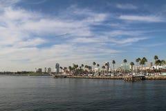 Sikt från havet på Long Beach, Long Beach, Kalifornien Fotografering för Bildbyråer