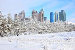 Sikt i Astana i vinter Arkivbilder