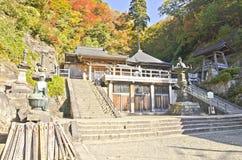 Sikt i det höga berget i den Yamadera templet Arkivbilder