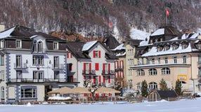Sikt i Engelberg, Schweiz Royaltyfria Bilder