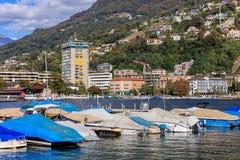 Sikt i Lugano, Schweiz Arkivbild