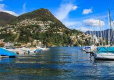 Sikt i Lugano, Schweiz Royaltyfria Bilder