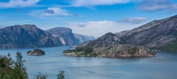 Sikt in i Lysefjord Fotografering för Bildbyråer