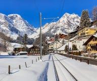Sikt i staden av Engelberg, Schweiz Arkivfoto