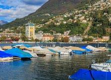 Sikt i staden av Lugano i Schweiz Royaltyfria Bilder