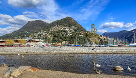 Sikt i staden av Lugano, Schweiz Royaltyfri Bild