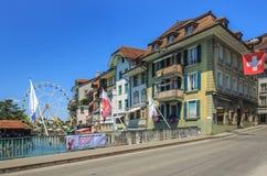 Sikt i Thun, Schweiz Arkivbilder