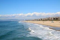 Sikt längs Manhattan Beach Los Angeles arkivfoto