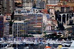 Sikt Monaco från hamn Arkivbild