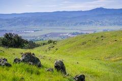 Sikt in mot dalen och det Loma Prieta maximumet från kullarna av prärievargen Ridge, San Jose, södra San Francisco Bay, Kaliforni fotografering för bildbyråer