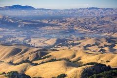 Sikt in mot Tri-dalen och Mt Diablo på solnedgången; guld- kullar och dalar Arkivbild
