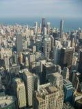 sikt ovanför den chicago staden arkivbild