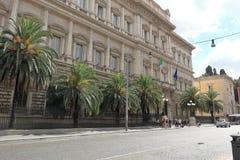 Sikt på Banca D'Italia (via Nazionale, 91) i Rome Royaltyfria Foton