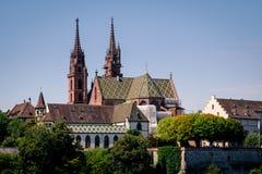 Sikt på Baseln Munster arkivfoto